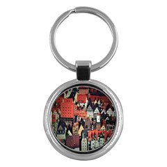 Tilt Shift Of Urban View During Daytime Key Chains (Round)