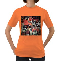 Tilt Shift Of Urban View During Daytime Women s Dark T-Shirt
