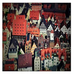 Tilt Shift Of Urban View During Daytime Large Satin Scarf (Square)