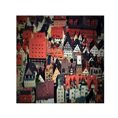 Tilt Shift Of Urban View During Daytime Small Satin Scarf (Square)