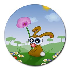 Easter Spring Flowers Happy Round Mousepads