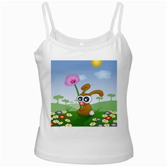 Easter Spring Flowers Happy White Spaghetti Tank