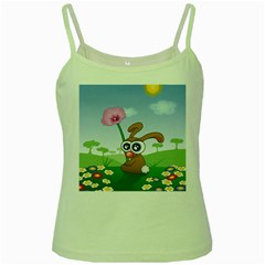Easter Spring Flowers Happy Green Spaghetti Tank