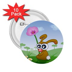 Easter Spring Flowers Happy 2.25  Buttons (10 pack)