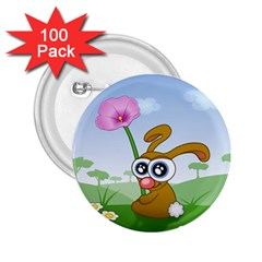 Easter Spring Flowers Happy 2 25  Buttons (100 Pack)