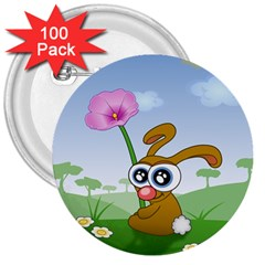 Easter Spring Flowers Happy 3  Buttons (100 pack)