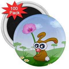 Easter Spring Flowers Happy 3  Magnets (100 pack)