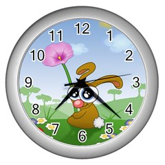 Easter Spring Flowers Happy Wall Clocks (Silver)