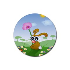Easter Spring Flowers Happy Rubber Coaster (Round)