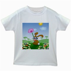 Easter Spring Flowers Happy Kids White T-Shirts