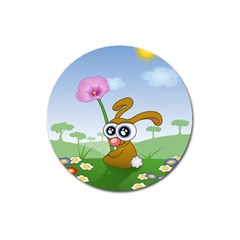 Easter Spring Flowers Happy Magnet 3  (round)