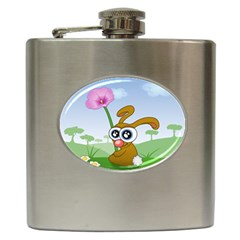 Easter Spring Flowers Happy Hip Flask (6 oz)