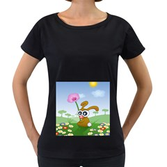 Easter Spring Flowers Happy Women s Loose-Fit T-Shirt (Black)