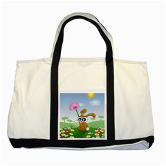 Easter Spring Flowers Happy Two Tone Tote Bag