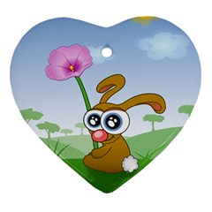 Easter Spring Flowers Happy Heart Ornament (Two Sides)