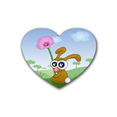 Easter Spring Flowers Happy Rubber Coaster (Heart)