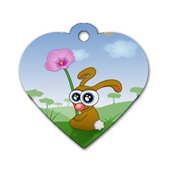 Easter Spring Flowers Happy Dog Tag Heart (One Side)