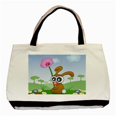 Easter Spring Flowers Happy Basic Tote Bag (Two Sides)
