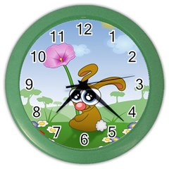 Easter Spring Flowers Happy Color Wall Clocks