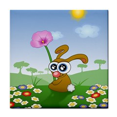 Easter Spring Flowers Happy Face Towel