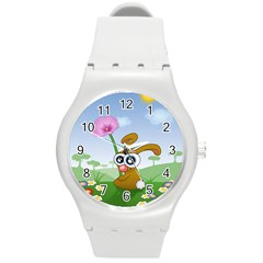 Easter Spring Flowers Happy Round Plastic Sport Watch (M)