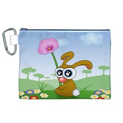 Easter Spring Flowers Happy Canvas Cosmetic Bag (XL)