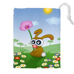 Easter Spring Flowers Happy Drawstring Pouches (XXL)