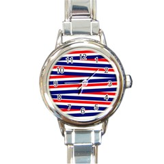 Red White Blue Patriotic Ribbons Round Italian Charm Watch