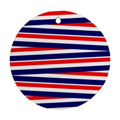 Red White Blue Patriotic Ribbons Ornament (Round)