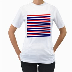 Red White Blue Patriotic Ribbons Women s T-Shirt (White) (Two Sided)