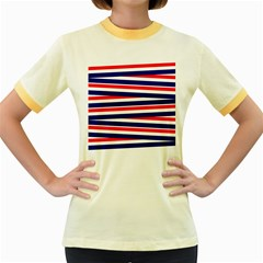 Red White Blue Patriotic Ribbons Women s Fitted Ringer T-Shirts