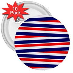 Red White Blue Patriotic Ribbons 3  Buttons (10 pack)