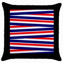 Red White Blue Patriotic Ribbons Throw Pillow Case (Black)