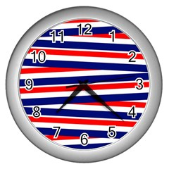 Red White Blue Patriotic Ribbons Wall Clocks (Silver)