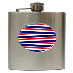 Red White Blue Patriotic Ribbons Hip Flask (6 oz)