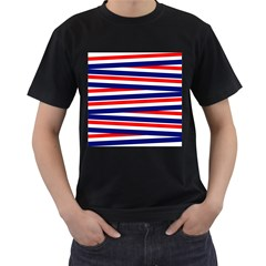 Red White Blue Patriotic Ribbons Men s T-Shirt (Black) (Two Sided)