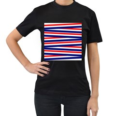 Red White Blue Patriotic Ribbons Women s T-Shirt (Black) (Two Sided)