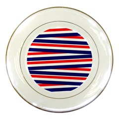 Red White Blue Patriotic Ribbons Porcelain Plates