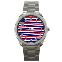 Red White Blue Patriotic Ribbons Sport Metal Watch