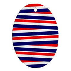 Red White Blue Patriotic Ribbons Oval Ornament (Two Sides)