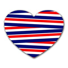 Red White Blue Patriotic Ribbons Heart Mousepads