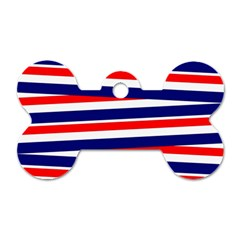 Red White Blue Patriotic Ribbons Dog Tag Bone (One Side)