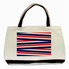 Red White Blue Patriotic Ribbons Basic Tote Bag (two Sides)