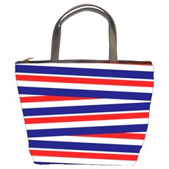 Red White Blue Patriotic Ribbons Bucket Bags