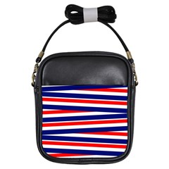 Red White Blue Patriotic Ribbons Girls Sling Bags
