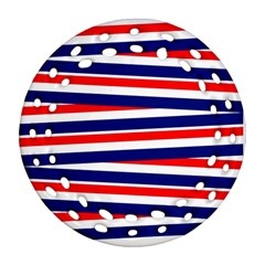Red White Blue Patriotic Ribbons Round Filigree Ornament (Two Sides)
