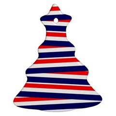 Red White Blue Patriotic Ribbons Christmas Tree Ornament (two Sides)