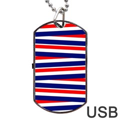 Red White Blue Patriotic Ribbons Dog Tag Usb Flash (one Side)