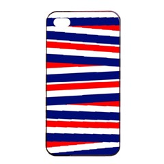 Red White Blue Patriotic Ribbons Apple iPhone 4/4s Seamless Case (Black)