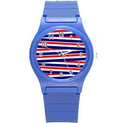Red White Blue Patriotic Ribbons Round Plastic Sport Watch (s)